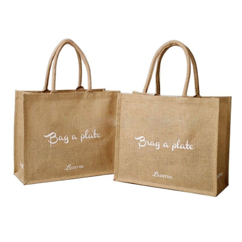 ขายส่ง 100 ชิ้น/ล็อตโลโก้ที่กำหนดเองพิมพ์พับเก็บได้ Hessian ช้อปปิ้งกระเป๋า Burlap ผ้าลินินผ้าลินินร้านขายของชำ tote bag สำหรับโฆษณา-ใน ถุงช้อปปิ้ง จาก สัมภาระและกระเป๋า บน AliExpress - 11.11_สิบเอ็ด สิบเอ็ดวันคนโสด 1