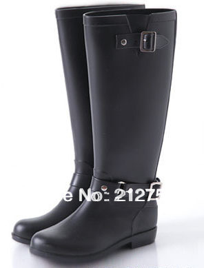 High Hasp Red Zipper Women Rain boots Motorcycle Boots Riding ...