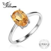 JewelryPalace Stałe 925 Sterling Silver Owalne 1.1ct Naturalne Cytryn Birthstone Solitaire Pierścień Prawdziwej Biżuterii dla Kobiet
