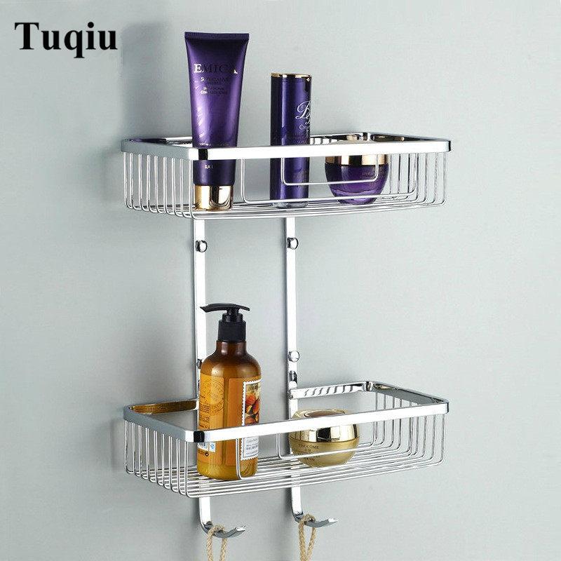 Stainless Steel Bathroom Shelves 2 Tier Shower Shampoo Soap Cosmetic Shelves Bathroom Accessories Storage Organizer Rack Holder