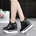 Free shipping spring/autumn women's 12cm height increase casual rivet flatform shoes comfortable all match single shoes