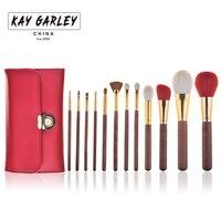 KAY GARLEY Tworzą Szczotki 12 sztuk Brush Set Profesjonalne Koza Włosów Essentials Makeup Muśnięcie Ustawia Z Pędzle Kosmetyczne Torba Góry jakość
