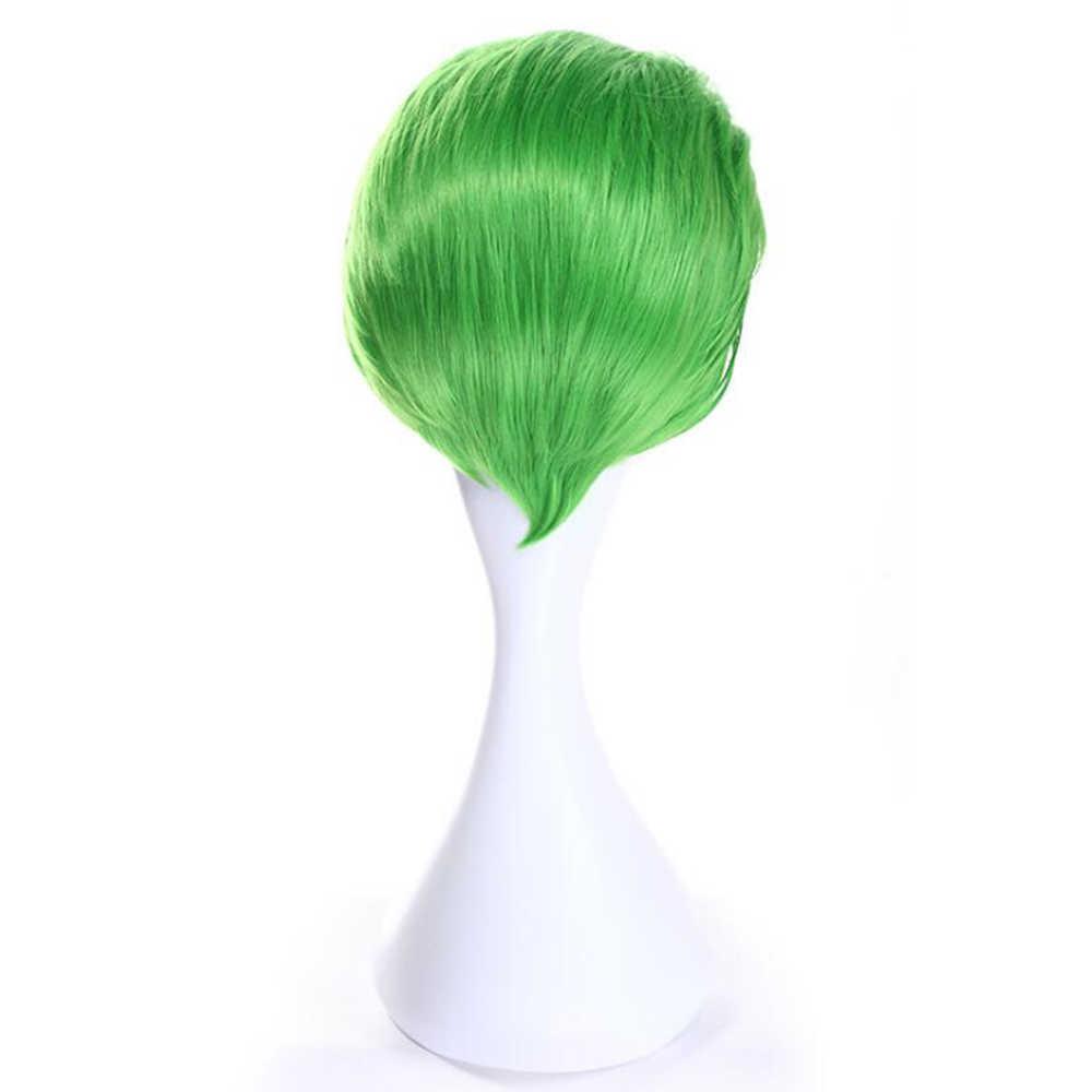 Soowee короткие прямые Синтетические волосы парик высокого Температура теплостойкость Волокно партии волос Зеленый Косплэй Искусственные парики для Для мужчин