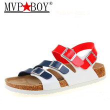 цены MVP BOY 2018 summer hot sell top quality PU leather men women flat Cork slippers sandals size 35-43 drop shipping black brown