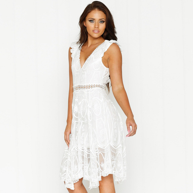 summer Dress women backless ruffle V Lead Split Joint Sexy Reveal Back  white Lace Beach Dress Woman Vestido De Festa Dresses New 9d5cc57f7ad9