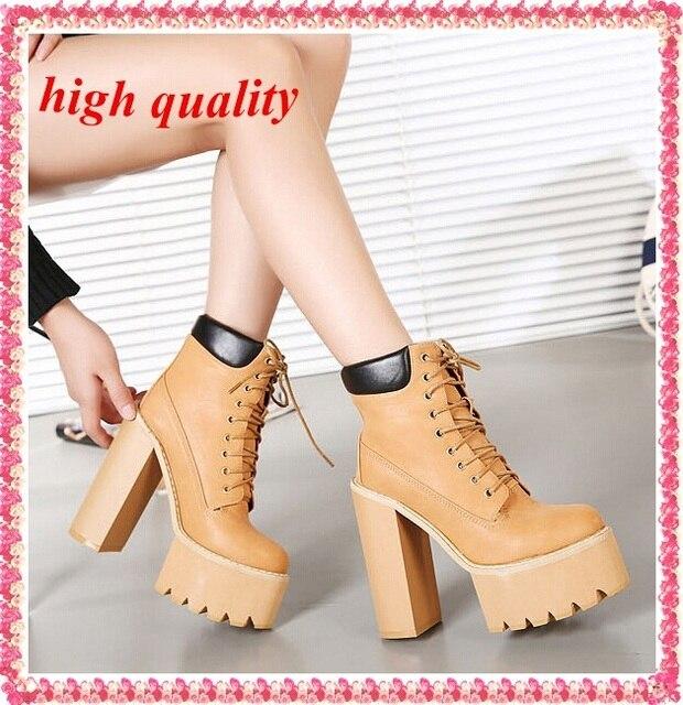 5b7b4d9ef84 Partido bombas de la plataforma otoño invierno botas marrones para mujer  encaje zapatos de tacones altos