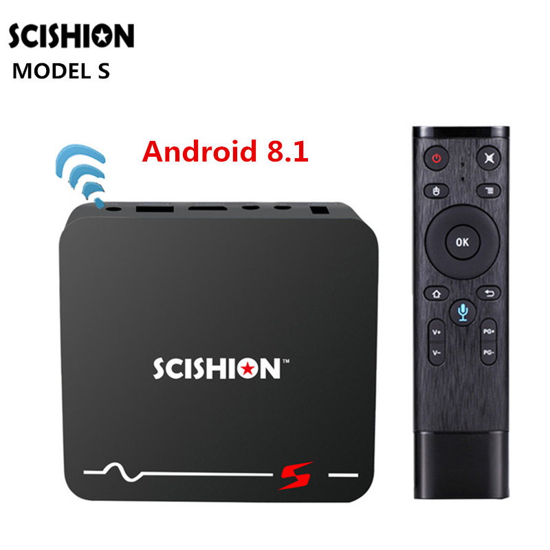 SCISHION Model S TV Box Android 8.1 Voice Remote RK3229 2GB+16GB Smart TV Box 2.4G WiFi 100Mbps Support 4K H.265 Media Player dolamee d5 rk3229 4k tv box tronsmart tsm01