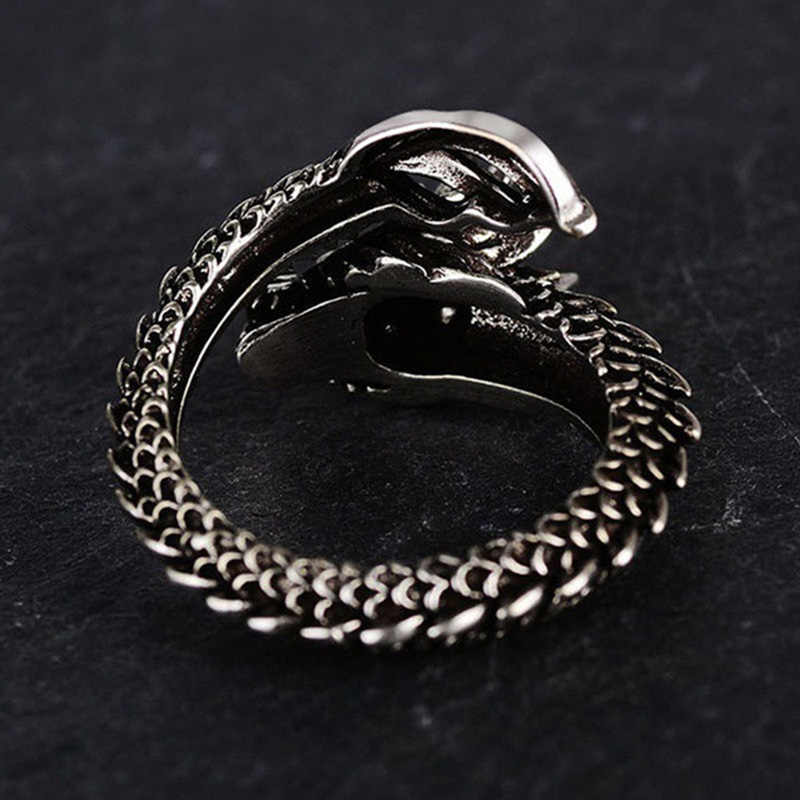 New Fashion Adjustable Silver Dragon Ring For Men Domineering Personality Jewelry Opening Rings