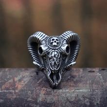 EYHIMD Evil Sacrifice Sorcerer Goat Head Mask Skull Rings Mens Punk Rock 316L Stainless Steel Ring Demon Biker Jewelry linsion big king vampire demon skull 925 sterling silver mens biker rock punk pendant 8q001