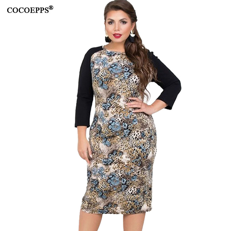5XL 6XL 2019 Spring Big Size Women Dress Winter Leopard Printing Plus Size Casual Dress Patchwork Elegant Party Large Size Dress