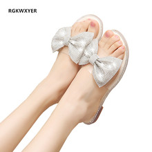 RGKWXYER New Women Slippers Bow Torridity Sandals Slipper Indoor Outdoor Casual Beach Shoes Rhinestone Lazy Shoes chanclas mujer new women flat shoes rhinestone slippers colorful crystal sandals kid suede rivets studded outdoor rhinestone zapatos mujer
