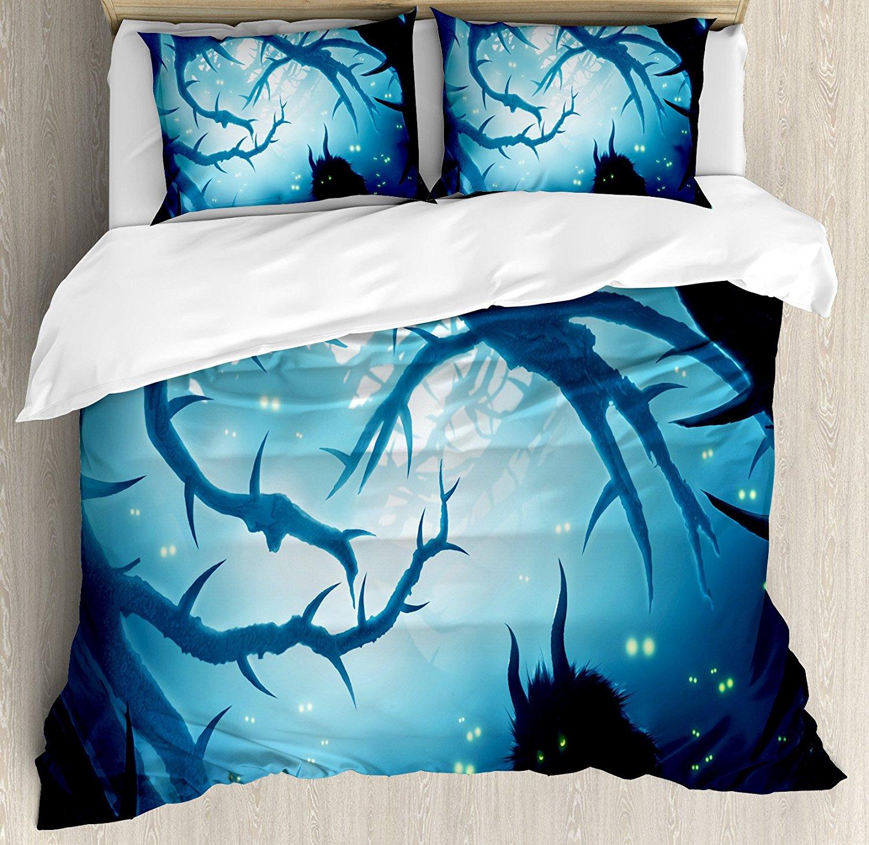 Décor mystique housse de couette Animal avec des yeux brûlants dans la forêt sombre la nuit horreur Halloween décoratif 4 pièces ensemble de literie
