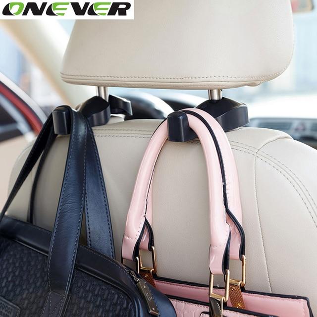 2pcs Auto Car Back Seat Headrest Hanger Holder Hooks Clips for Bag Purse Cloth Grocery Automobile Interior Accessories 4 Colors