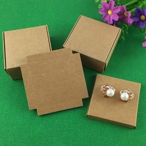 Image 3 - 50 Set Kraft Sieraden Box & Sieraden Kaarten Earring/Ketting BOX Blank Sieraden Displays Verpakking Sieraden Set/Hand gemaakt Geschenkdozen
