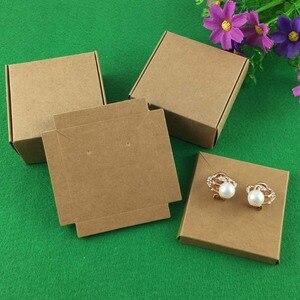 Image 3 - 50 takım Kraft Mücevher Kutusu ve Mücevher Kartları Küpe/Kolye KUTUSU Boş Takı Görüntüler takı ambalajı Seti/El Yapımı hediye Kutuları