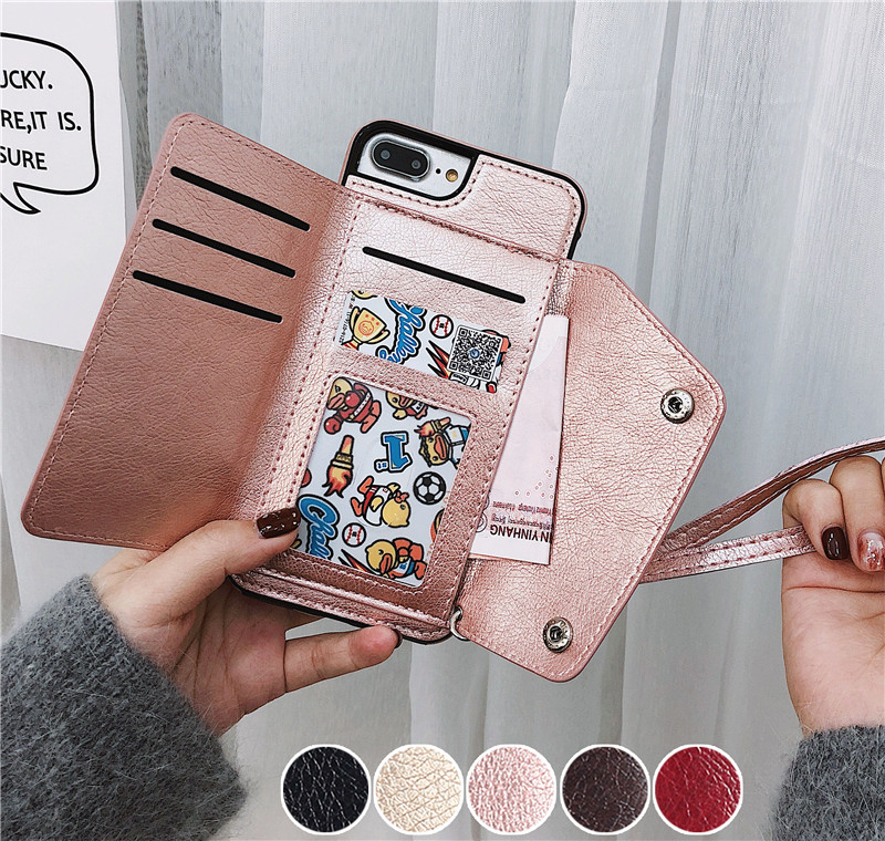 For iphone X 8 7 6 6S Flip Card Holder Leather Case Brand Retro Cover Phone Bag Case for Samsung Galaxy S9 S8 Plus Note 8 Coque
