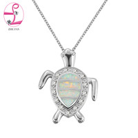 ZHE FAN White Fire Opal White CZ Necklace Cute Ocean Tortoise Design Jewelry Pendant Necklace For Party Christmas Gift New Come