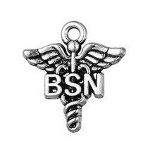 my shape Tibetan Silver Plated Bachelor of Science in Nursing Congratulation Bracelet Charm Pendant Medical Jewelry 20pcs