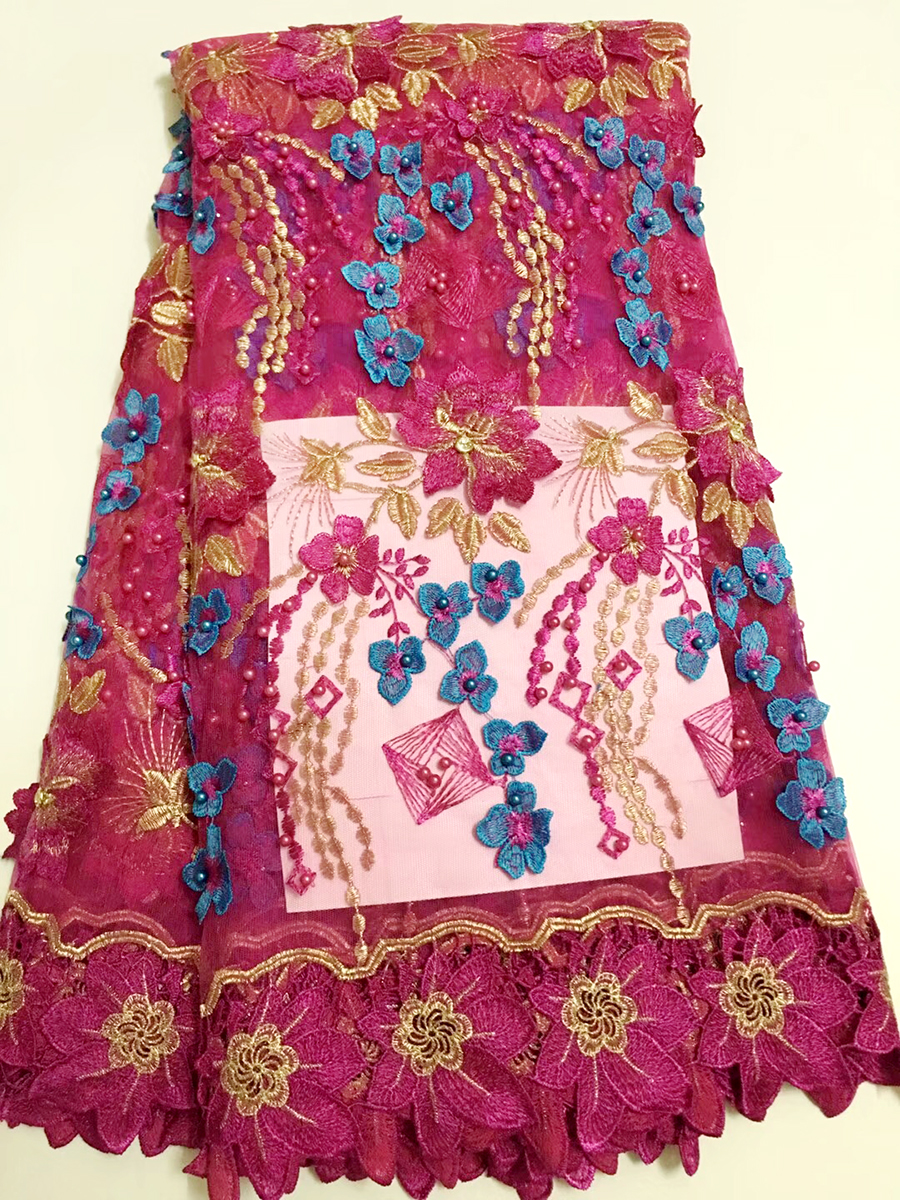 Nigerian Lace African Lace Fabrics Fuchsia 3D flowers Nigerian French Lace beads Fabric High Quality Beaded Tulle Fabric