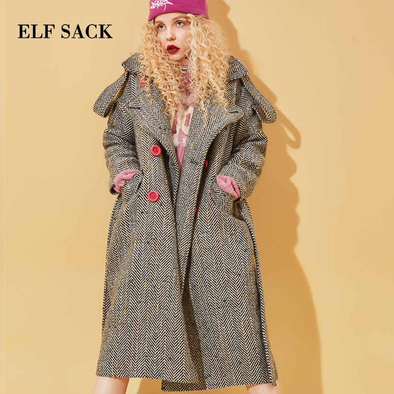 Elf Sack Winter New Lady Wool Coat Lengthy Sleeve Plaid Flip-Down Collar Girls Girls Jackets Free Button Femme Woolen Coats