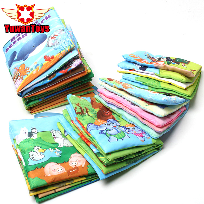 New 6 Style English Soft Fabric Cloth Book 0~12 Months Juguetes Bebe Brinquedos Para Bebe Learning Education Baby Book Toys