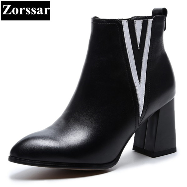 {Zorssar} Brand 2018 NEW Fashion Women Boots Thick Heel zipper ankle Riding boots Solid High heels womens shoes winter boots zorssar brands 2018 new arrival fashion women shoes thick heel zipper ankle chelsea boots square toe high heels womens boots