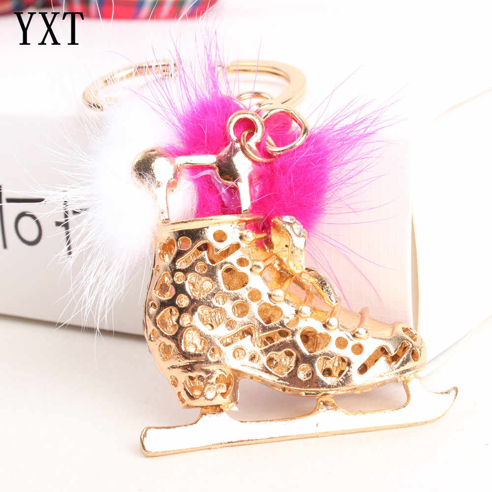 Ice Skate Roller Lovely Charm Pendant Feather Crystal Purse Bag Keyring Key Chain Accessories Jewelry Ring Wedding Party Gift