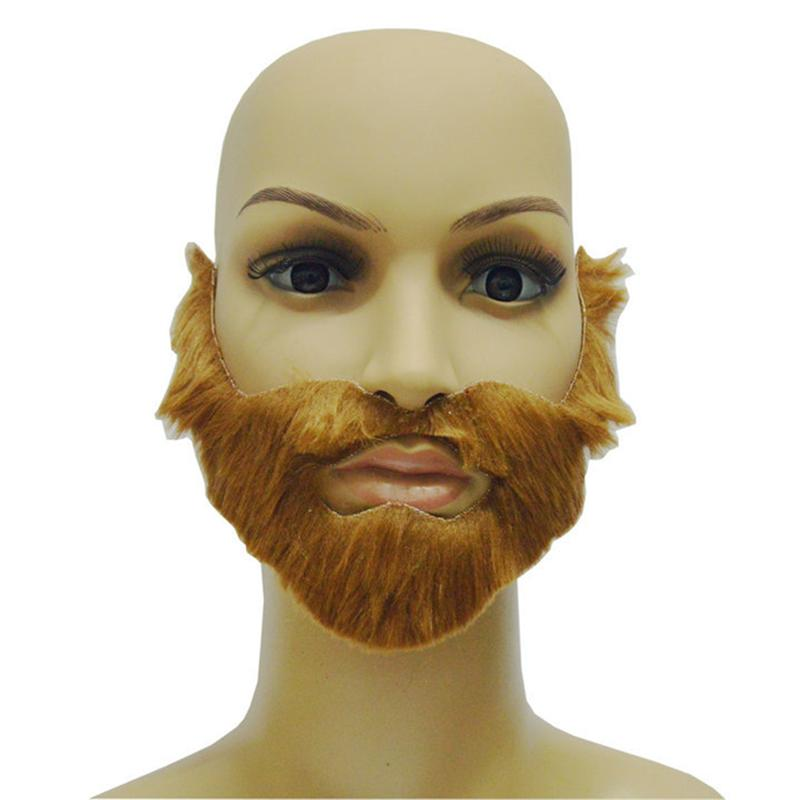 Fake Mustaches Adult Men Fake Beard Brown Halloween Beard Mustache With Elastic Band Festival Party Supplies