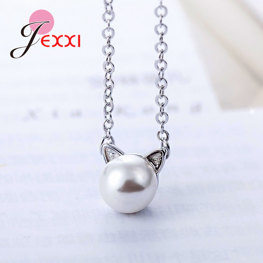 JEXXI Hot Sale Anniversary Gift Party Shopping Jewelry 925 Sterling Silver Lovely Cat Animal Shape Necklace Cubic Zirconia