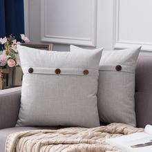 Funda decorativa de lino para cojín, funda de cojín, funda de almohada Vintage de tres botones para sofá o cama