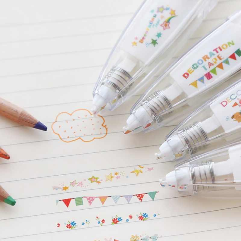 Cute Colorful Sticker Pen Flag Flowers Stars Press Type Decorative Correction Tape Corrector For School Stationery School Supply