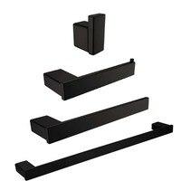 Leyden 4pcs Bathroom Hardware Sets Blackened Stainless Steel Towel Bar Towel Ring Robe Hook Toilet Paper Holder Bath Accessories