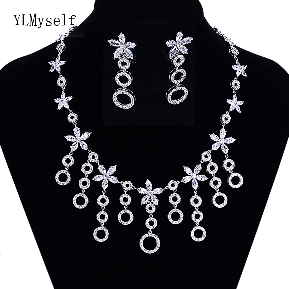 Round circle fashion design 2pcs jewelry set for party Big Necklace Earrings high great crystal Large jewelry sets for women футболка print bar troll