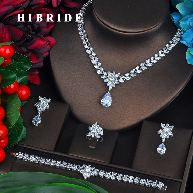 Fashion New Rhodium Color Fashion Top Quality Wedding Jewelry Sets AAA CZ Flower Bridal Earrings Necklace