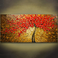 Unframed Panel Wall Art Palette Knife Hand Painted Red Tree Flower Oil Painting On Canvas Wall
