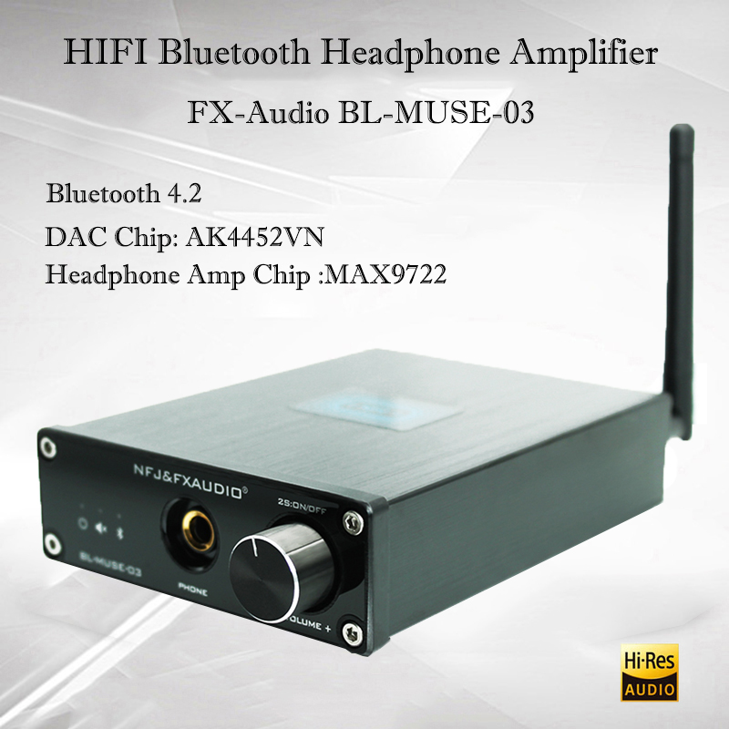 FX-Audio BL-MUSE-03 Hifi Bluetooth Amplifier Headphone Amp Ak4452 Portable Headphone Amplifier Audio Decoder USB DAC Amplifiers