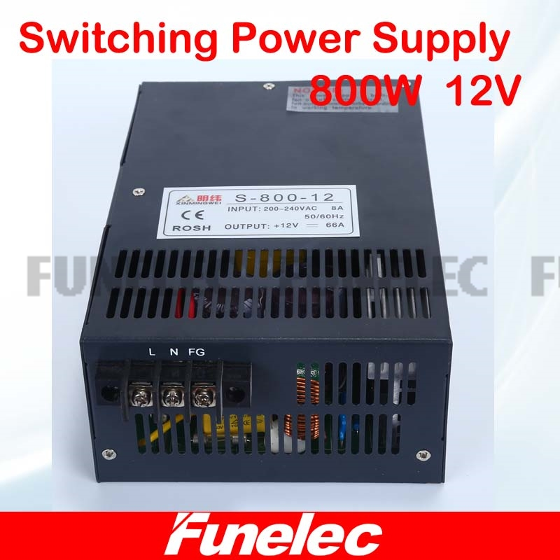 800W Dc12V Power Supply Charger For LED Strip Fonte 12V 66.7A Driver Transformers 220V 110V AC To DC SMPS with CNC 3D Print