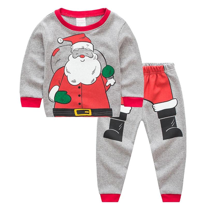 2018 Children Christmas Santa Claus   Pajamas     Set   Boys & Girls Cartoon Sleepwear Suit Kids Long-sleeved+Pants 2-piece Baby Clothes
