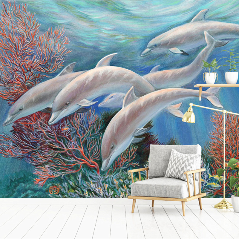 Custom 3D Non-Woven Wallpaper child Photo Mural Wallpaper Roll Sea Cartoon Dolphin Home Decor For Kids Room Bedroom stylish dolphin pattern 3d wall sticker for home decor