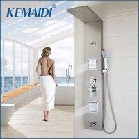 KEMAIDI Новый термостатический осадки душ Панель Дождь Массаж Системы кран с Джетс ручной душ матовый цифровой термометр