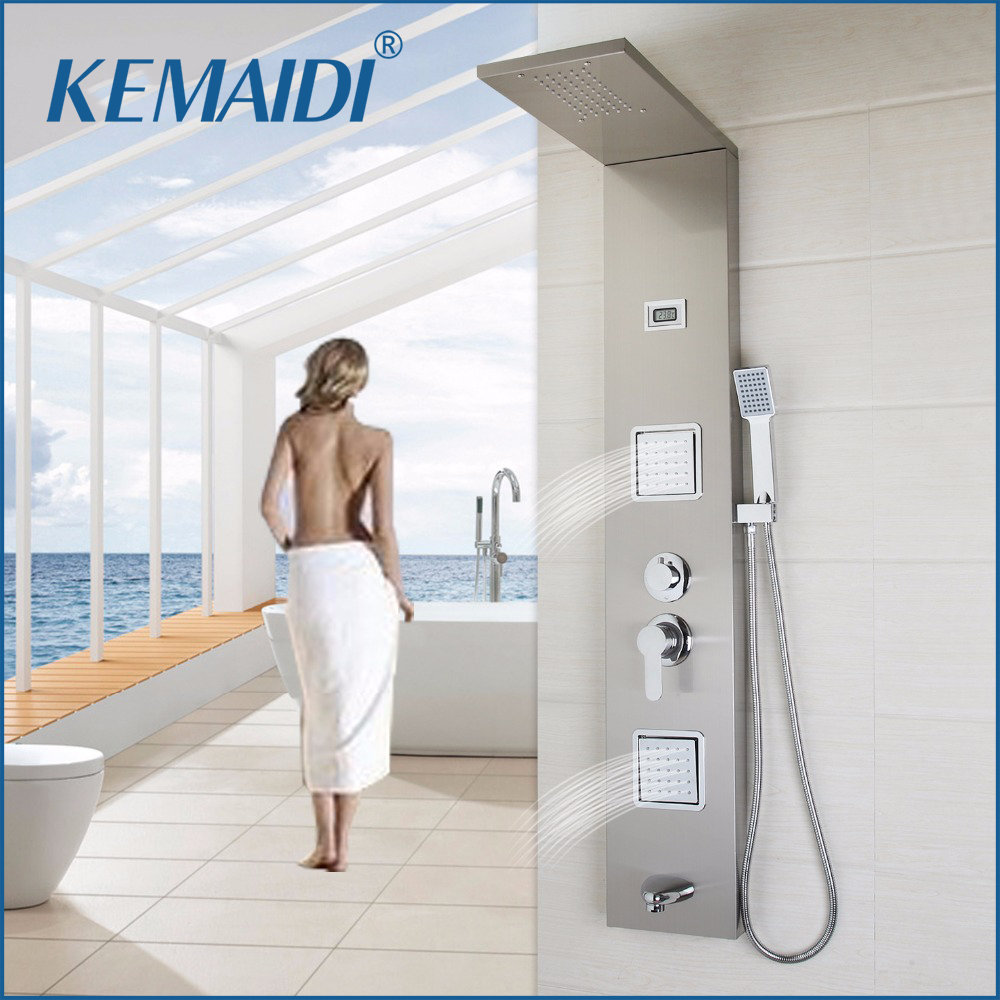KEMAIDI  New Thermostatic Rainfall Shower Panel Rain Massage System Faucet with Jets Hand Shower Brushed Digital Thermometer ouboni new arrival bathroom rainfall shower panel rain massage system faucet with jets hand shower bathroom faucet tap mixer
