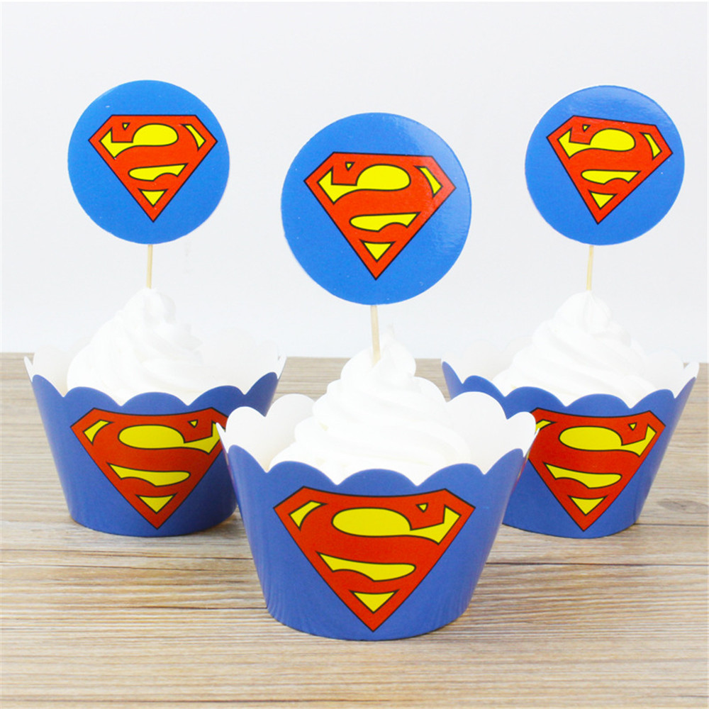 24pcs Superman Cartoon Paper Cupcake Wrappers Toppers Baby Shower ...