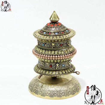Pure handmade pure copper  sitting modle the tube/Tibetan-style turquoise stone carving wheel in Nepal
