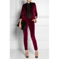 Burgundy Velvet Ladies Suits Trouser 2 Piece Velevt Suit Formal Business Womens Tailored Suit