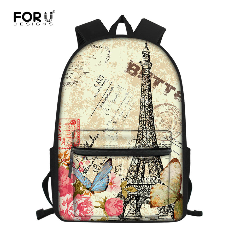 FORUDESIGNS Eiffel Tower Printing Vintage Backpack Girls Travel Laptop Rucksack Bookbags Ladies Shoulder Bag Mochila Feminina