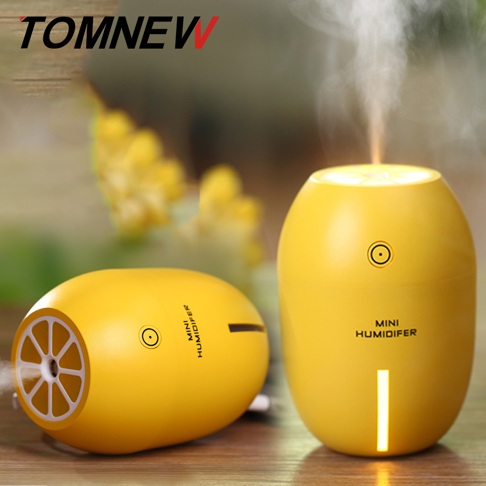 TOMNEW 180ML Mini Cool Air Humidifier USB Portable Ultrasonic Lemon Air Clean Diffuser with LED Night Light for Home Office Car