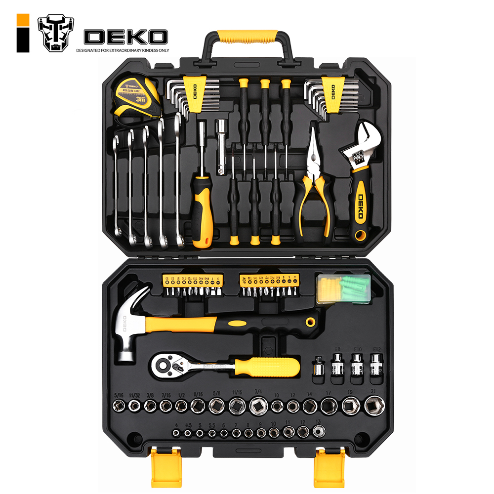 DEKO TZ128 Socket Wrench Tool Set Auto Repair Mixed Tool Combination Package Hand Tool Kit with