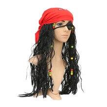 Piratas del Caribe Jack Sparrow Cosplay peluca máscara adulto capitán  pirata accesorios pañuelo conjuntos para Halloween f44c5abd077
