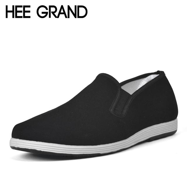HEE GRAN Holgazanes Hombres Casual Primavera Otoño Zapatos de Lona Punta Redonda para Hombre Hombres Zapatos Slip On Pisos Negros Cómodos Padre XMF403