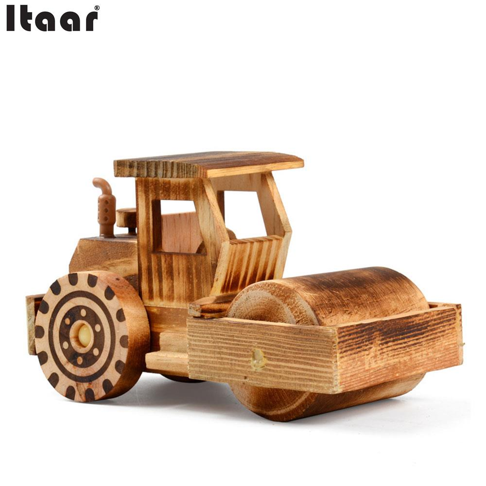 Wooden Simulation Street Roller Car Model Kids Toys Crafts Office Decoration